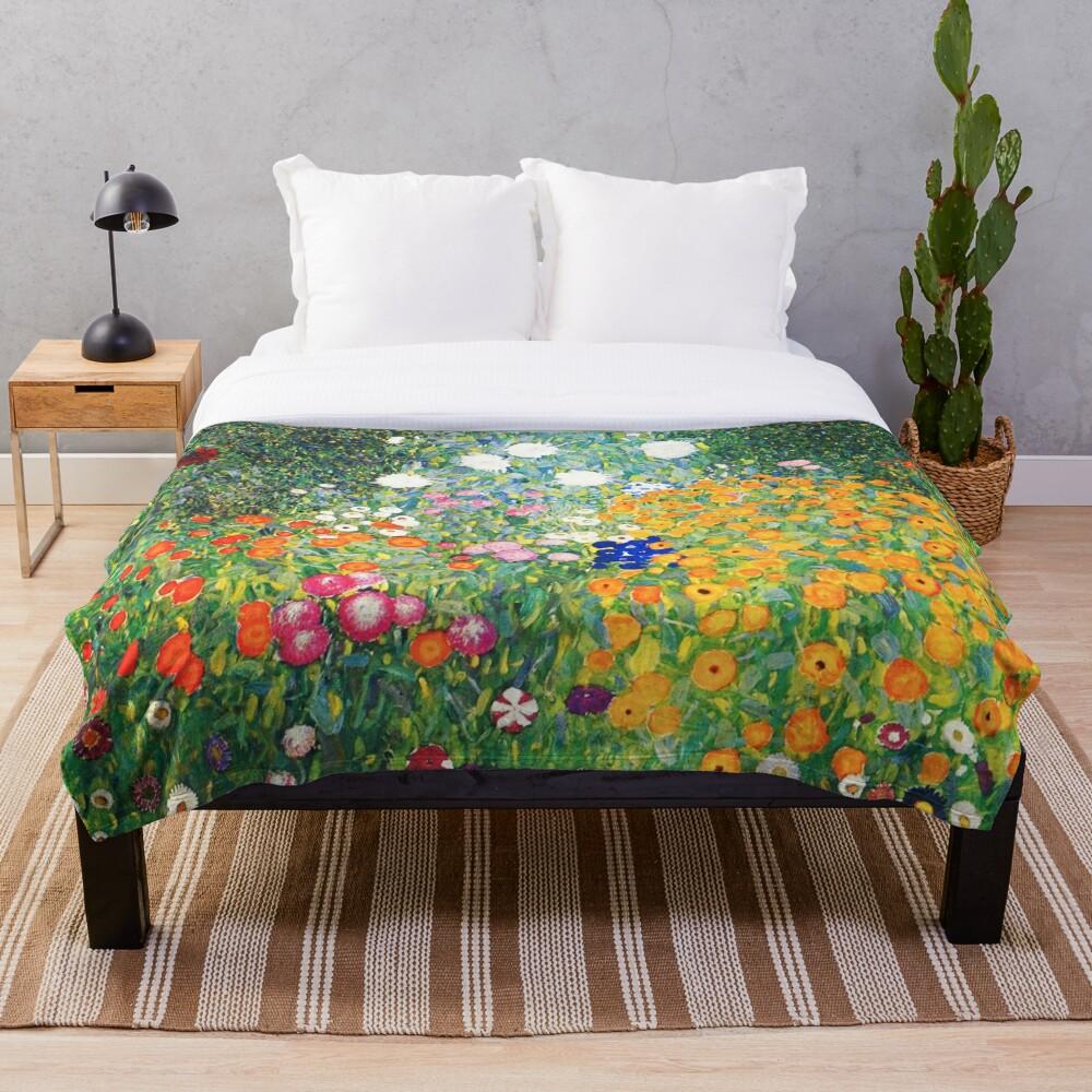 Flower Garden by Gustav Klimt Throw Blanket