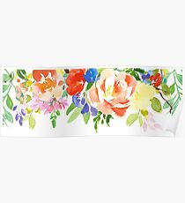 Blue Red and Yelow Watercolor Flowers Poster
