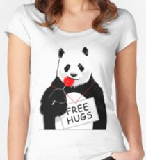 Cool Panda Design Women's Fitted Scoop T-Shirt