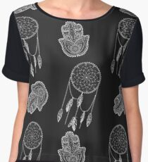 Bohemian pattern with hamsa and dreamcatcher at black and white colors. Chiffon Top