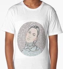 Portrait in a circle  № 1. Beautiful girl with long braids. Long T-Shirt