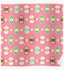 Cute eggs pattern Poster