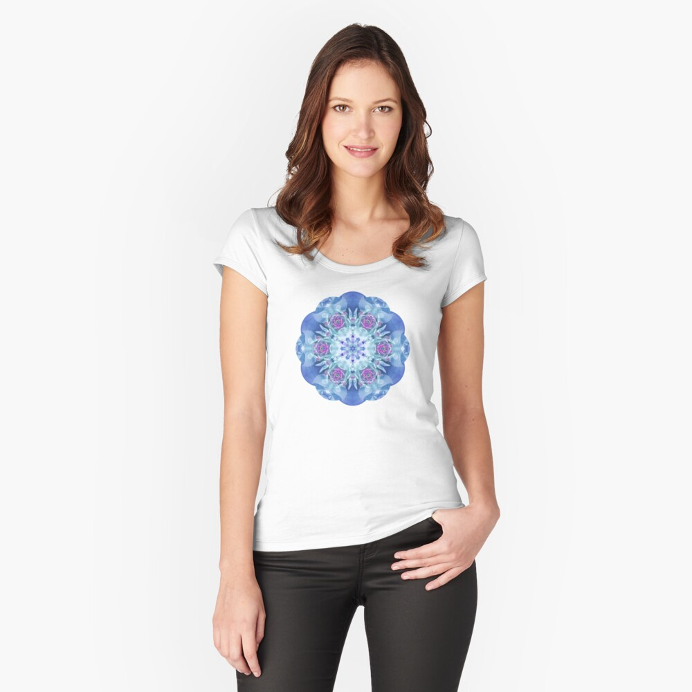 Royal Blue and Purple Mandala Women's Fitted Scoop T-Shirt Front