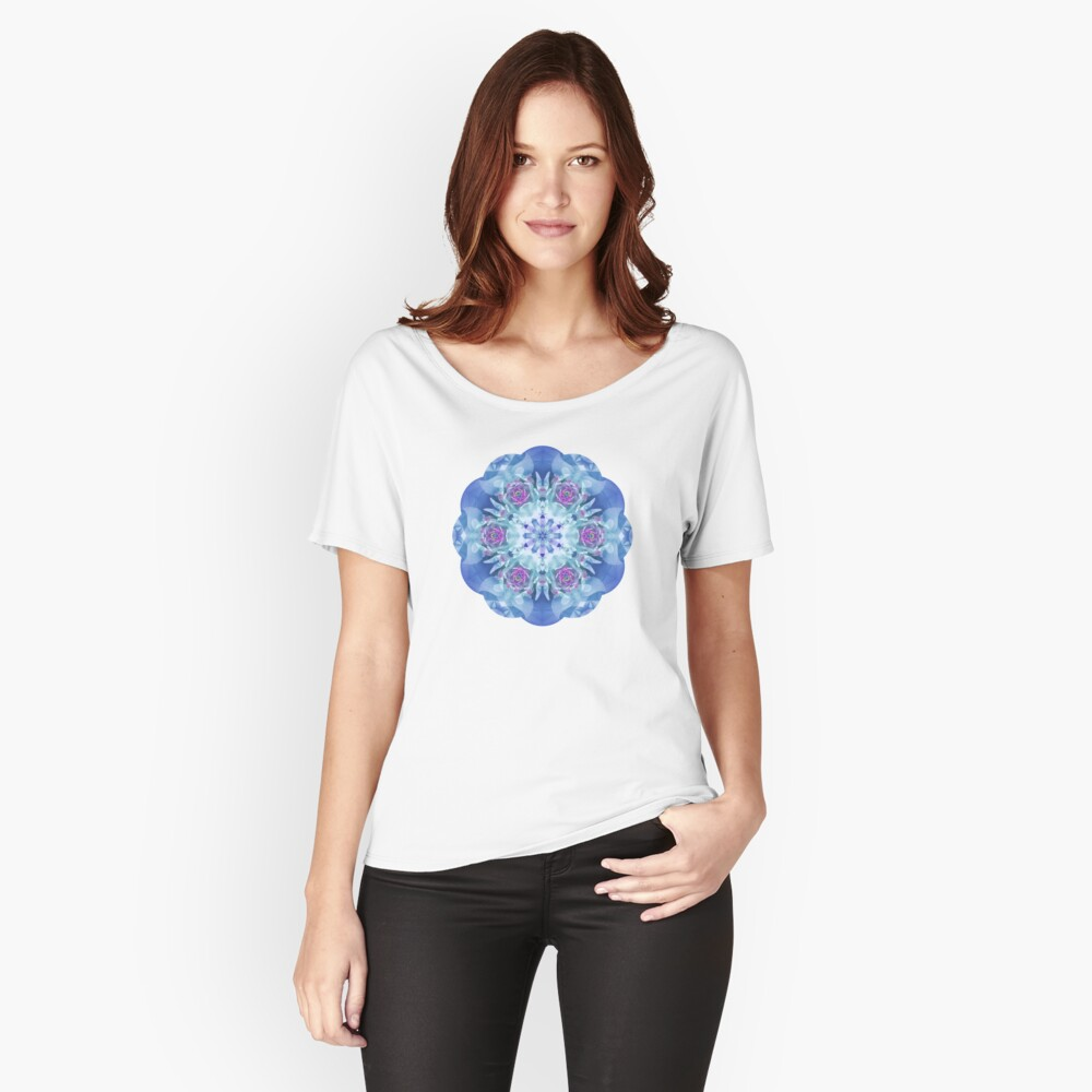 Royal Blue and Purple Mandala Women's Relaxed Fit T-Shirt Front