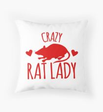 Crazy Rat Lady in RED Throw Pillow