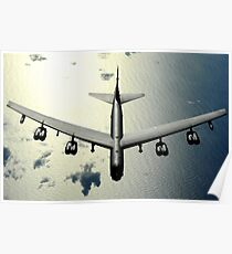 A B-52 Stratofortress in flight over the Pacific Ocean. Poster