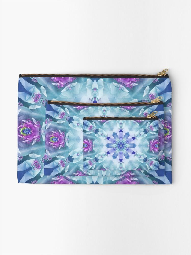 Alternate view of Royal Blue and Purple Mandala Zipper Pouch