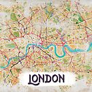 Watercolor Map of London by Rouages Design