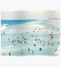 Póster Costera, arte de playa, agua azul, mar, océano