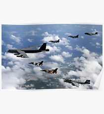 A B-52 Stratofortress leads a formation of aircraft over Guam. Poster