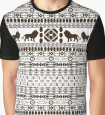 African Traditional Pattern Lions black and white Graphic T-Shirt