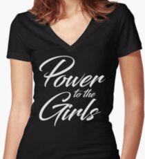 Power to the Girls | white cursive v. Women's Fitted V-Neck T-Shirt