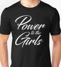 Power to the Girls | white cursive v. T-Shirt