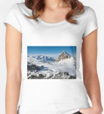 Alpine snowy peaks, France, Europe Women's Fitted Scoop T-Shirt
