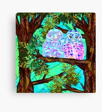 Forest owls stained glass Canvas Print