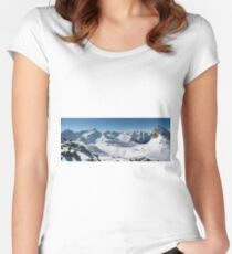 Snowy Peaks of French Alps Women's Fitted Scoop T-Shirt