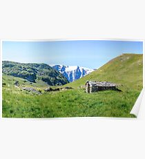 Stone hut in the Alps Poster