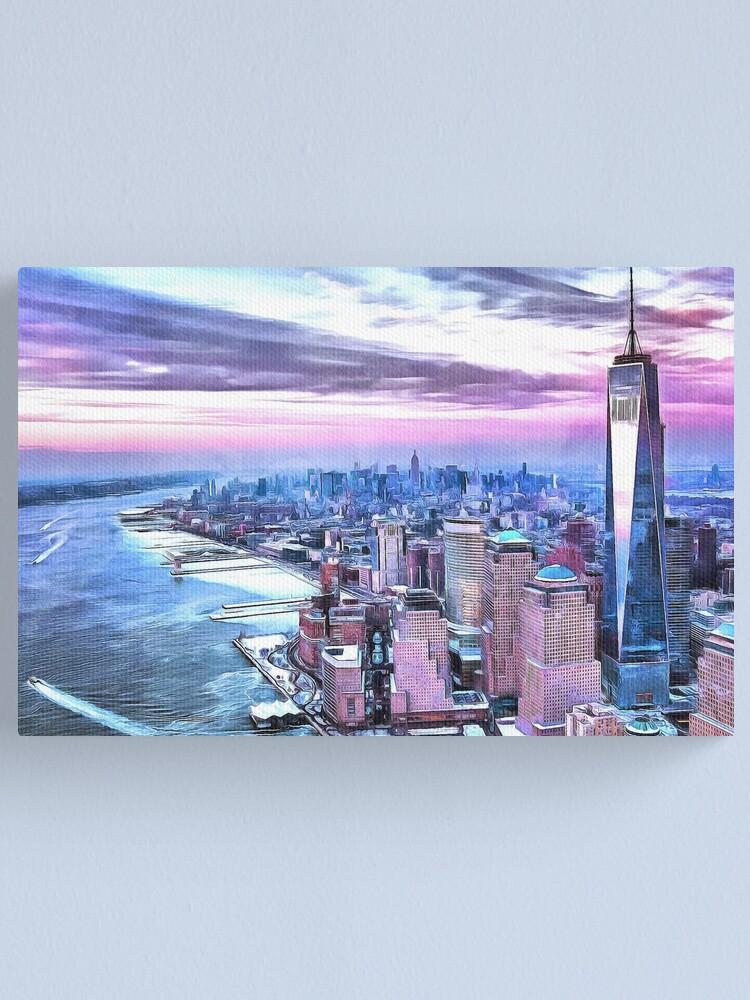 Nyc Sunset Watercolor Painting New York City Big Apple Brooklyn Manhattan Sunrise Empire State Building Canvas Print