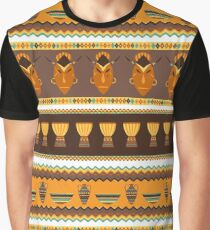 African Traditional Pattern Drums n Masks Graphic T-Shirt