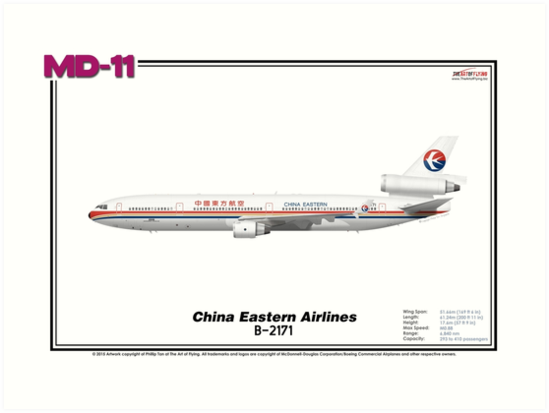 McDonnell Douglas MD-11 - China Eastern Airlines (Art Print) by TheArtofFlying