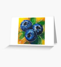 1 2 3 Blueberries Sweet Berries Blue Yellow Green Yummy Natural Healthy Kitchen Art Food Foodie F Greeting Card
