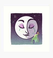 Night Blooming, moon and luna moth Art Print