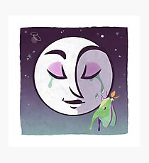 Night Blooming, moon and luna moth Photographic Print