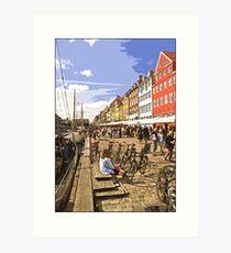 View along Nyhavn, Copenhagen by Tim Constable Art Print