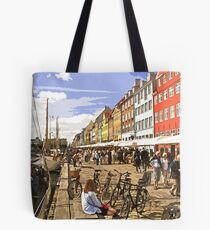View along Nyhavn, Copenhagen by Tim Constable Tote Bag