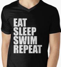 Eat Sleep Swim Repeat Love High School Swim Team Sport T Shirt Vintage Style Distressed Stressed Men's V-Neck T-Shirt