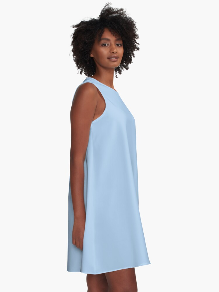 Alternate view of Baby Blue Solid Color Decor A-Line Dress