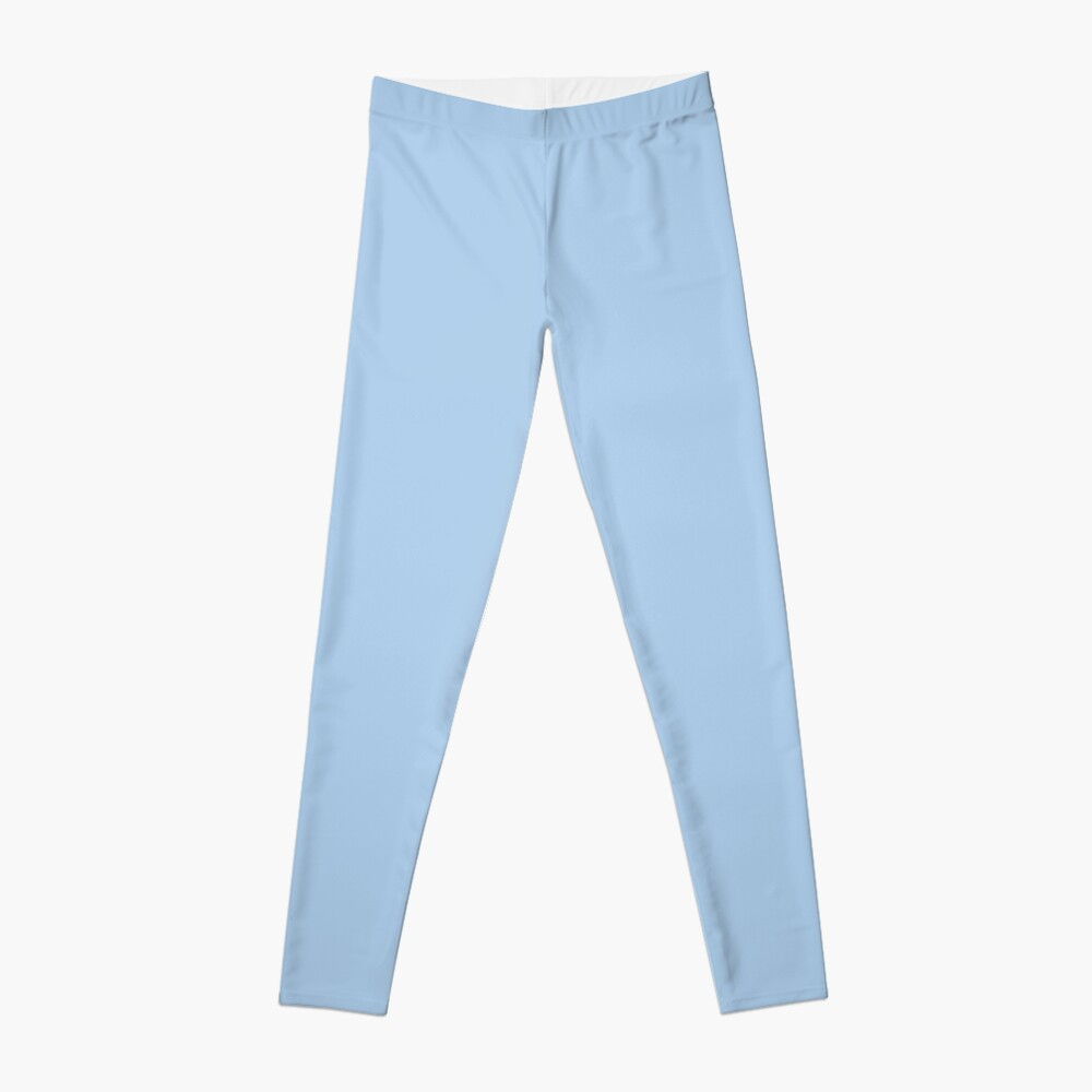 Baby Blue Solid Color Decor Leggings
