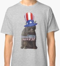 Fourth of July Furry Cat Sparrow Classic T-Shirt