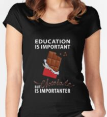 Education is Important - But Chocolate is Importanter Women's Fitted Scoop T-Shirt