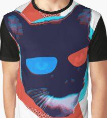 3D Glasses Flashback Cat Graphic T-Shirt