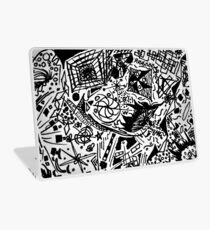 Black and White Galaxy Shape Doodle Scribblings - Ink Pen Laptop Skin
