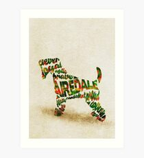 Airedale Terrier Typographic Watercolor Painting Art Print
