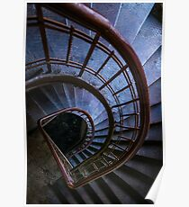 Spiral blue staircase Poster