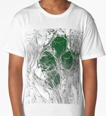 Green Crystal Tulips Long T-Shirt