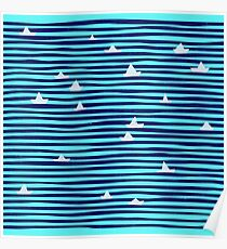Origami boat on the sea Poster