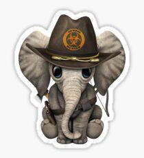 Baby Elephant Zombie Hunter Sticker