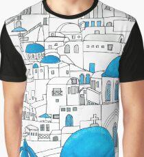 Santorini Blue and White Paradise Graphic T-Shirt