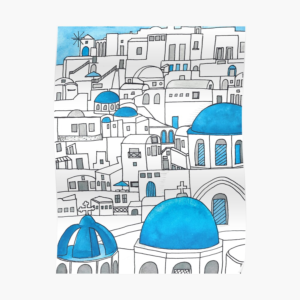 Santorini Blue and White Paradise Poster