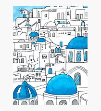 Santorini Blue and White Paradise Photographic Print