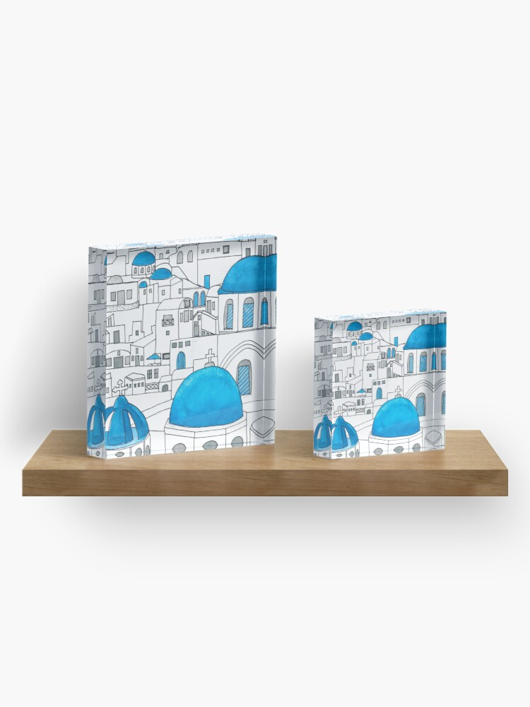 Alternate view of Santorini Blue and White Paradise Acrylic Block