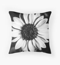 The Bright Eyed Sunflower in Black & White Throw Pillow
