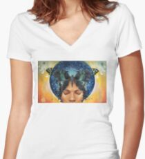 Butterfly Kisses/Child of Diasporas Women's Fitted V-Neck T-Shirt