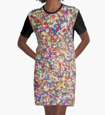 Rainbow Sprinkles Graphic T-Shirt Dress