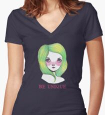 Be Unique: Pretty Green Haired Girl  Women's Fitted V-Neck T-Shirt