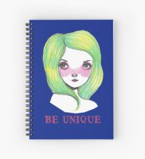 Be Unique: Pretty Green Haired Girl  Spiral Notebook
